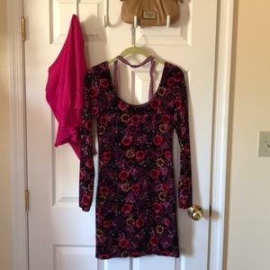 Floral fitted dress, long sleeve mini dress